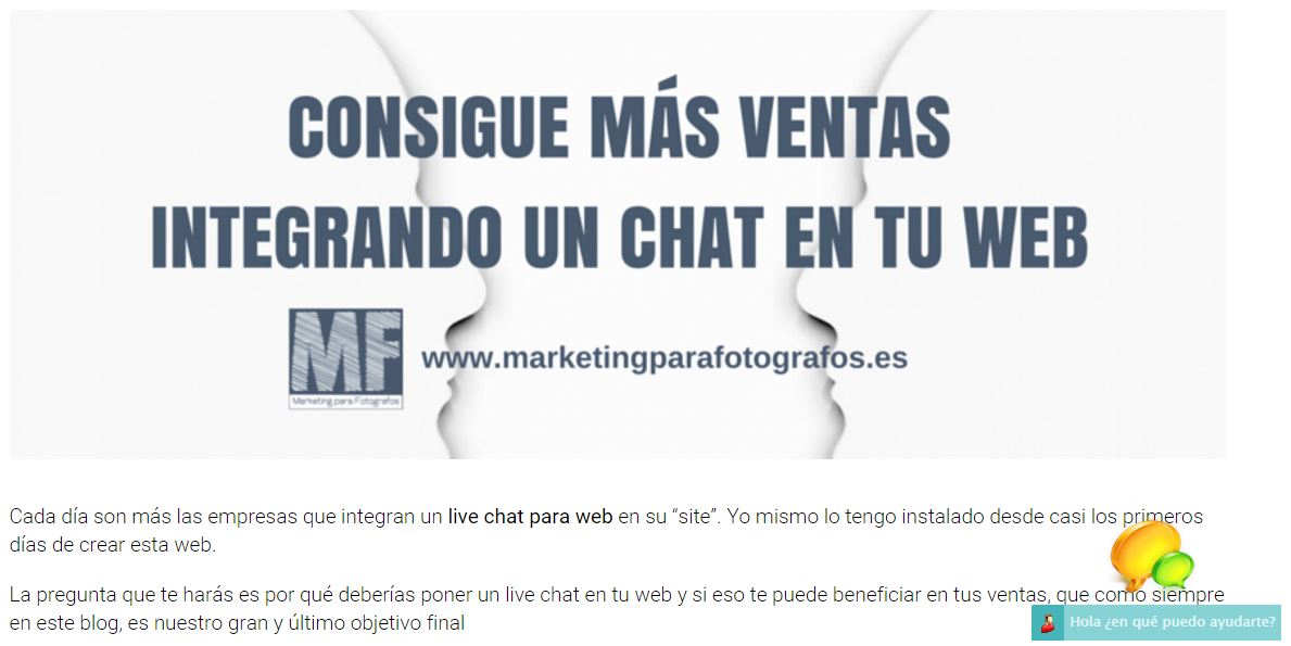 captura de pantalla del live chat para Web en Marketing para Fotógrafos